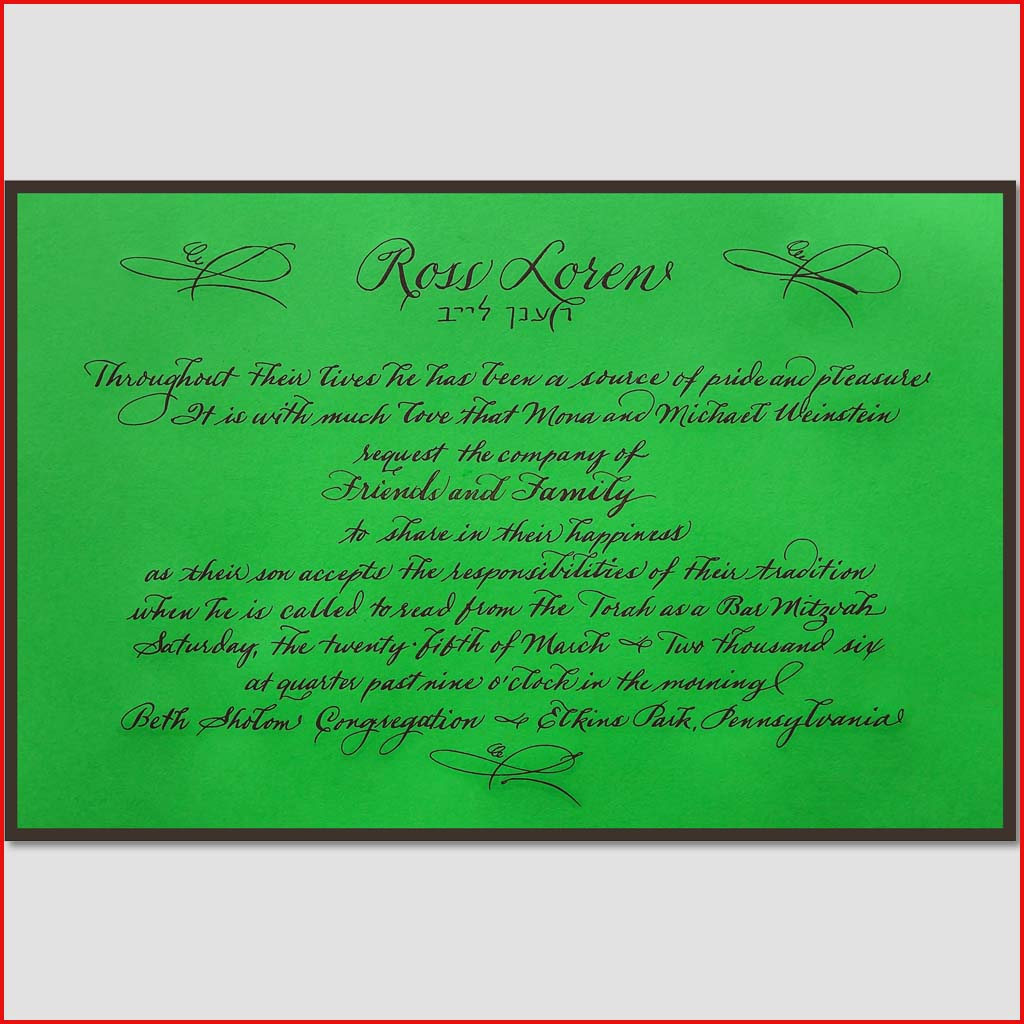 MJW Calligraphy | Michael Weinstein | Invitations 01