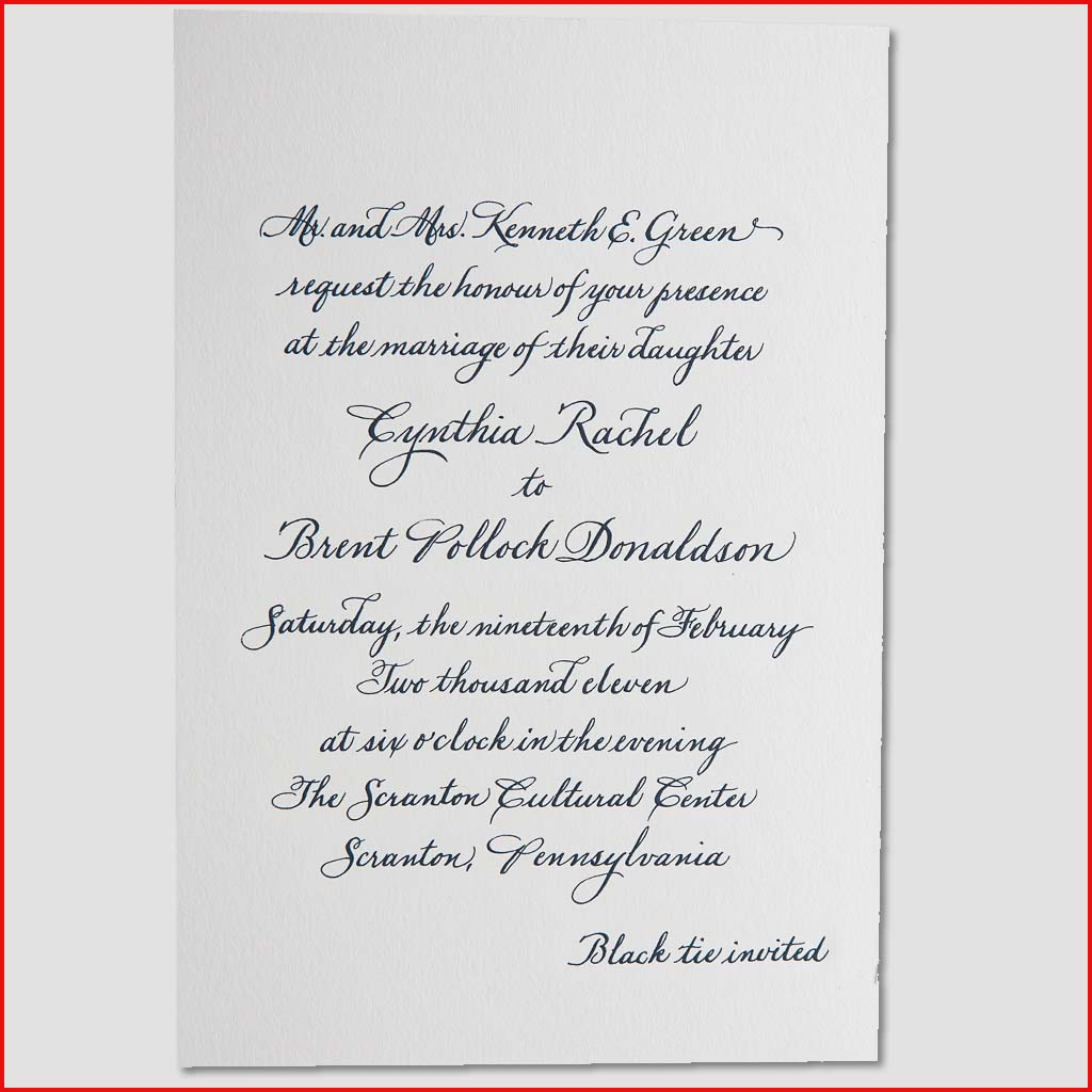 MJW Calligraphy | Michael Weinstein | Invitations 07