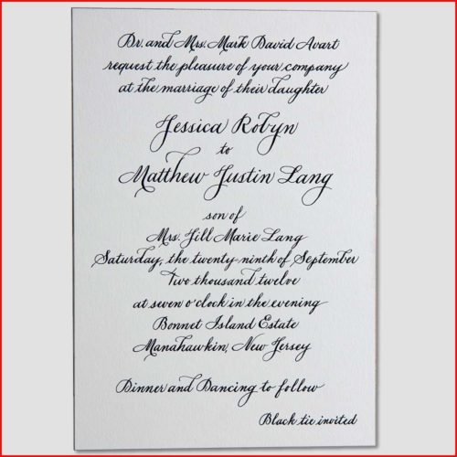 MJW Calligraphy | Michael Weinstein | Invitations 09