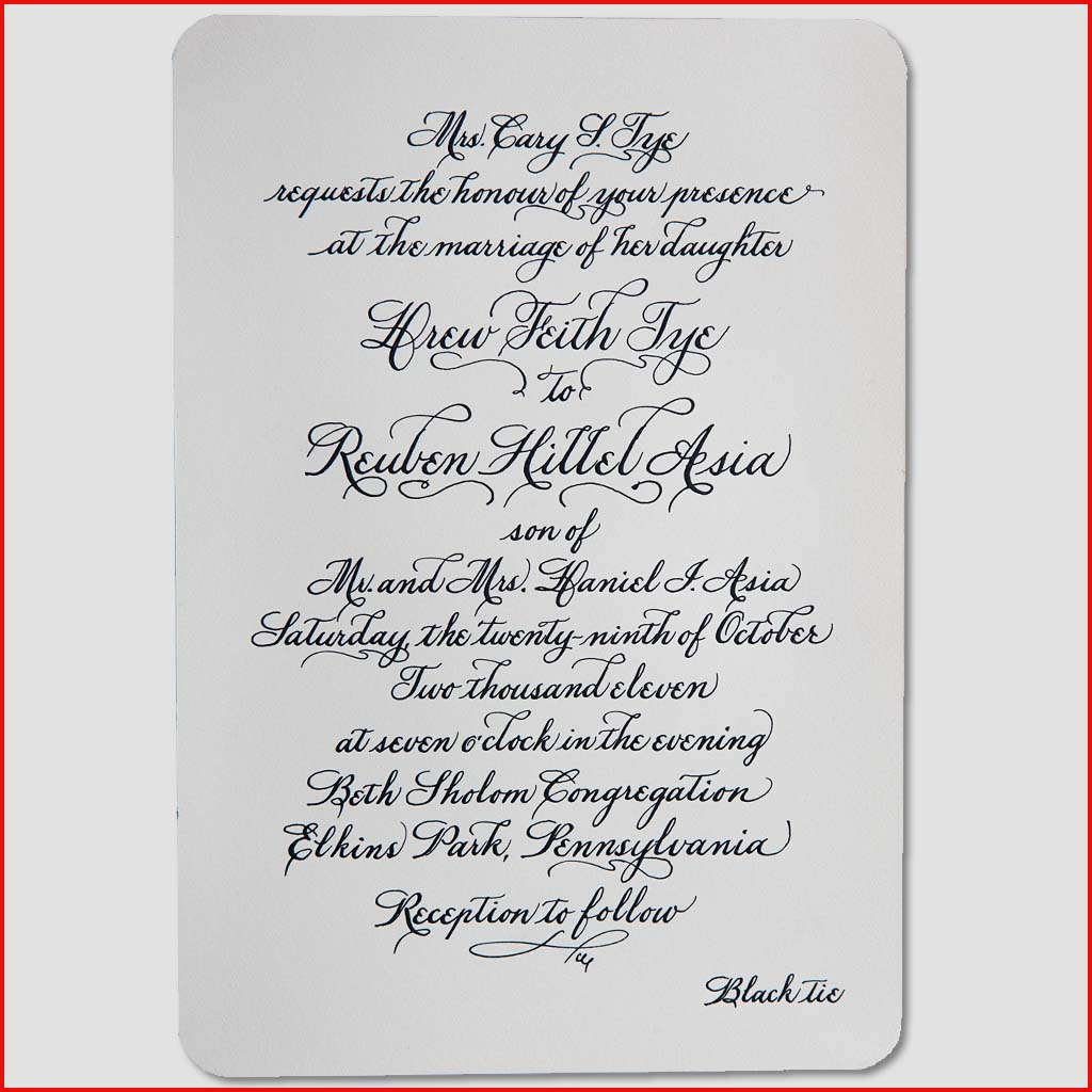 MJW Calligraphy | Michael Weinstein | Invitations 10